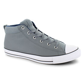 0fff57f74621b Converse® Chuck Taylor All Star Mid Leather, Gray/Navy, hi-res